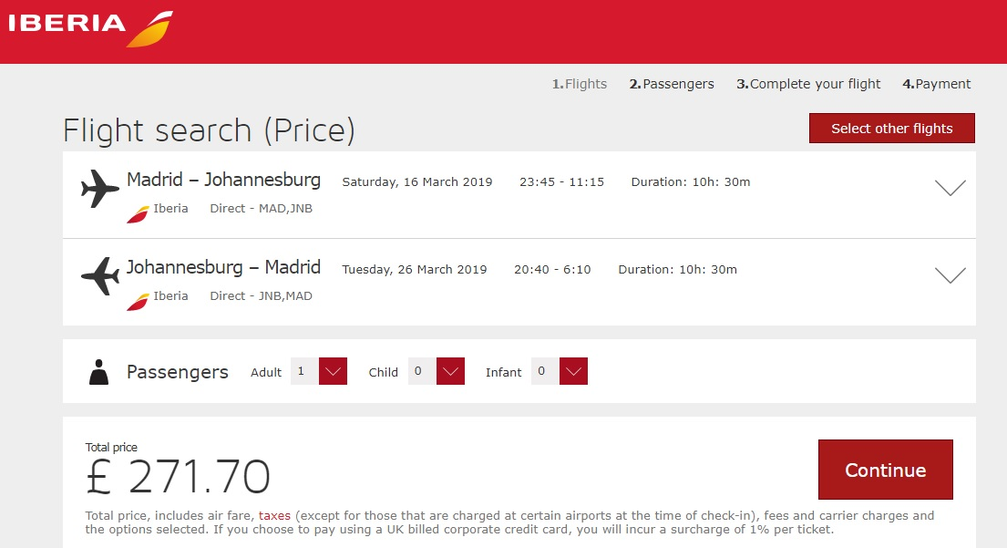 Madrid - Johannesburg - Madrid 316€
